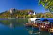 Traditional wooden boats in Bled