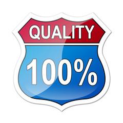 Señal carretera americana con texto QUALITY 100%