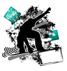 Snowboarding grunge template vector
