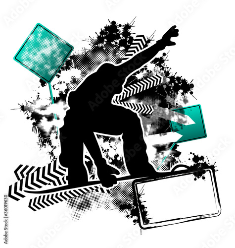 Snowboarding grunge template vector