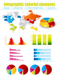 Infographics with maps and charts poster