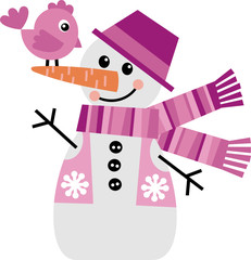Vector image of a snowman with a little chicken