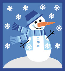 Vector image of a snowman in a waistcoat and a hat