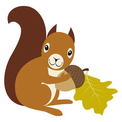 Squirrel with acorn and oak leaf