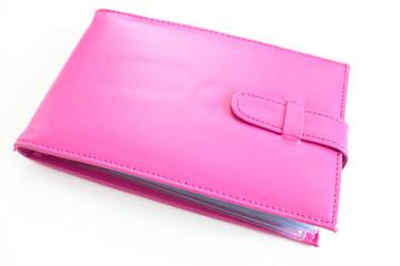 Pink bank book holder, Pink leather bag
