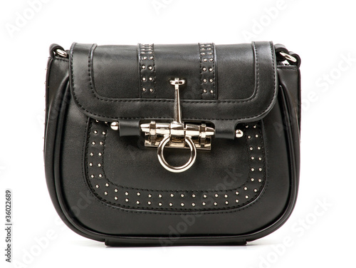 Black rivet bag over white