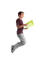Teen student jumping