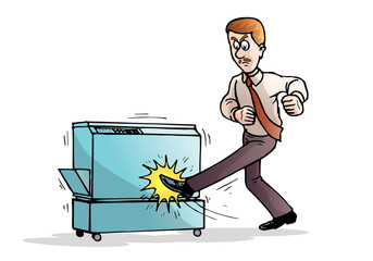 angry businessman destroying his photocopy machine