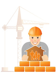 engineer with construction crane and house