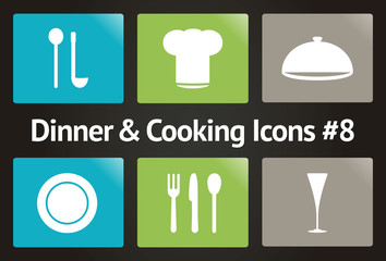 Dinner & Cooking Vector Icon Set #8