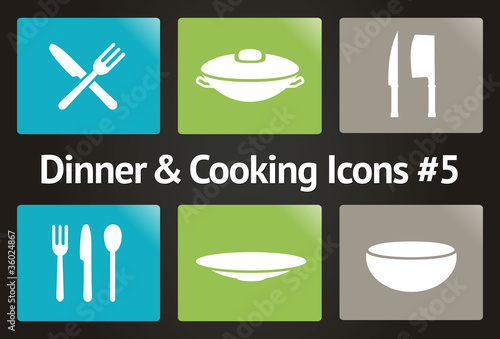 Dinner & Cooking Vector Icon Set #5