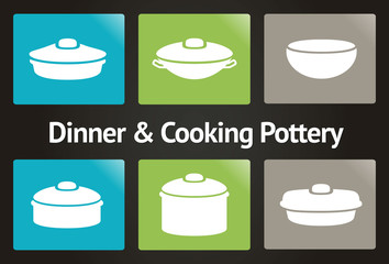 Dinner & Cooking Pottery Vector Icon Set