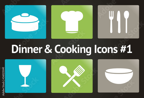 Dinner & Cooking Vector Icon Set #1