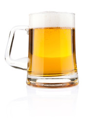 light beer in glass mug