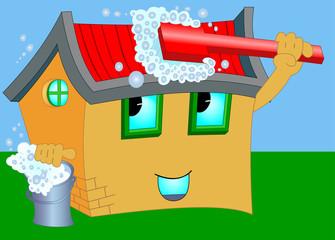Wash cartoon house