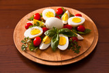 Boiled Eggs on Cutting Board