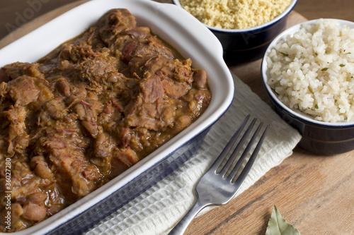 Brazilian Feijoada, White Rice & Farofa