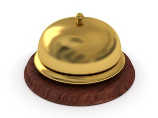 Service ring golden bell on wooden stand
