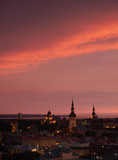 Tallinn central at sunset under thundercloud
