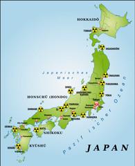 Japan mit Kernkraftanlagen