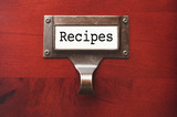 Lustrous Wooden Cabinet with Recipes File Label poster