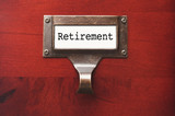 Lustrous Wooden Cabinet with Retirement File Label poster