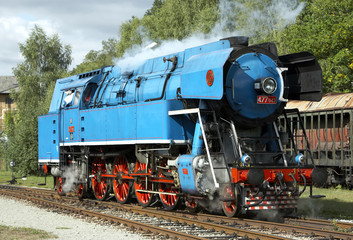 steam locomotive called Parrot (477.043), depot Luzna u Rakovnik