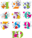 set vector funny cartoon numbers with elves poster
