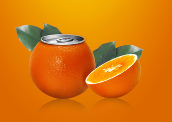 Orange can and half orange