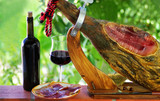 Fototapety Jamon of spain and red wine.