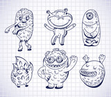 set of hand drawn monsters and freaks