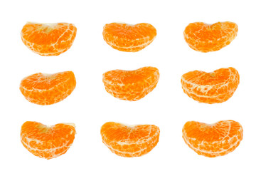 Ornament of tangerine slices on a white background