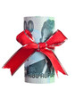 Indonesian Rupiah wrapped by ribbon isolated on white