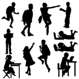 Fototapety silhouettes kids