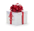 Single silver gift box with red ribbon on white background.