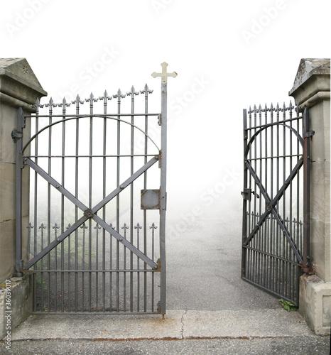 open wrought-iron gate