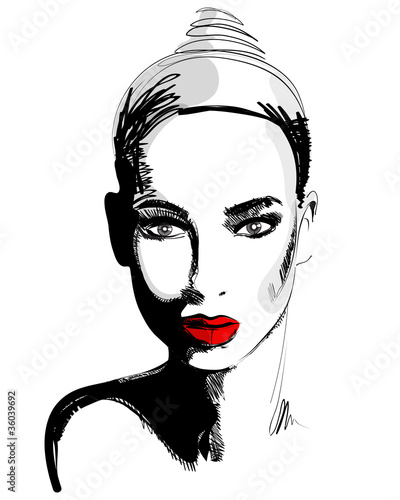 Beautiful hand drawn style elegant woman portrait - 36039692
