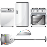 Set of realistic, detailed household appliances poster