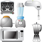 Set of realistic, detailed kitchen appliances poster