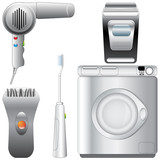 Set of realistic, detailed bathroom appliances poster
