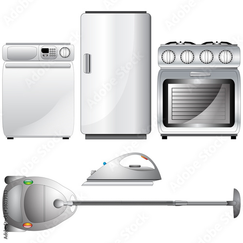 Set of realistic, detailed household appliances