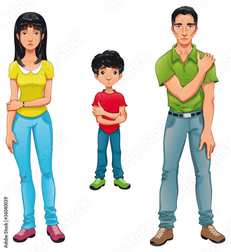 Sick family. Vector cartoon characters.
