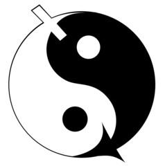 Woman and man symbol. Ying yang.