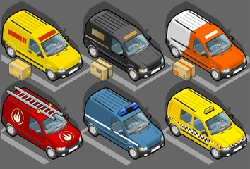 Isometric van delivery, firefighters, police, taxi