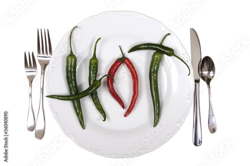 Hot chili peppers on a plate