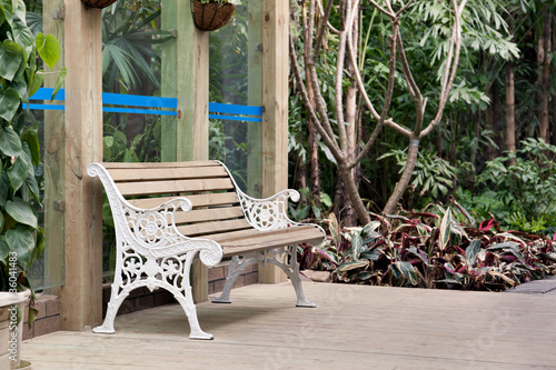 Chair on summer house wooden deck