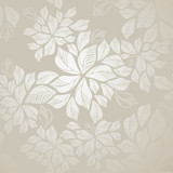 Fototapety Seamless silver leaves wallpaper