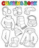 Coloring book winter apparel 1 poster