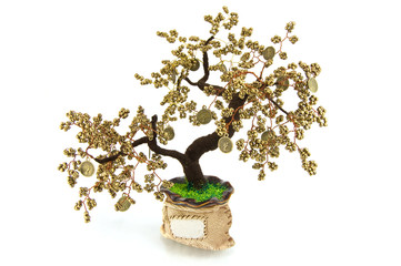 Handmade article: money tree from glass beads and wire.