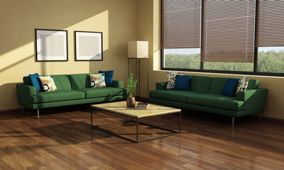 Chic Interior with 2 green sofas and view to trees